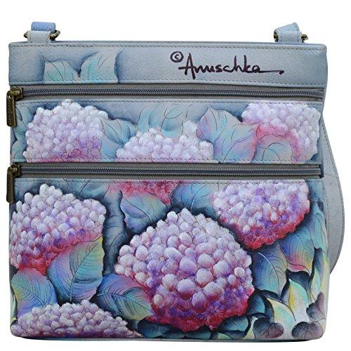Hypnotic Hydrangeas Anuschka Bag Organizer Genuine Women��s Leather Original Painted Artwork Hand Crossbody SwqUSvr4