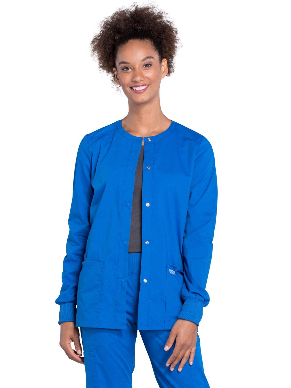 Cherokee Professionals Workwear Women's Snap Front Warm-Up Solid Scrub Jacket Medium Royal