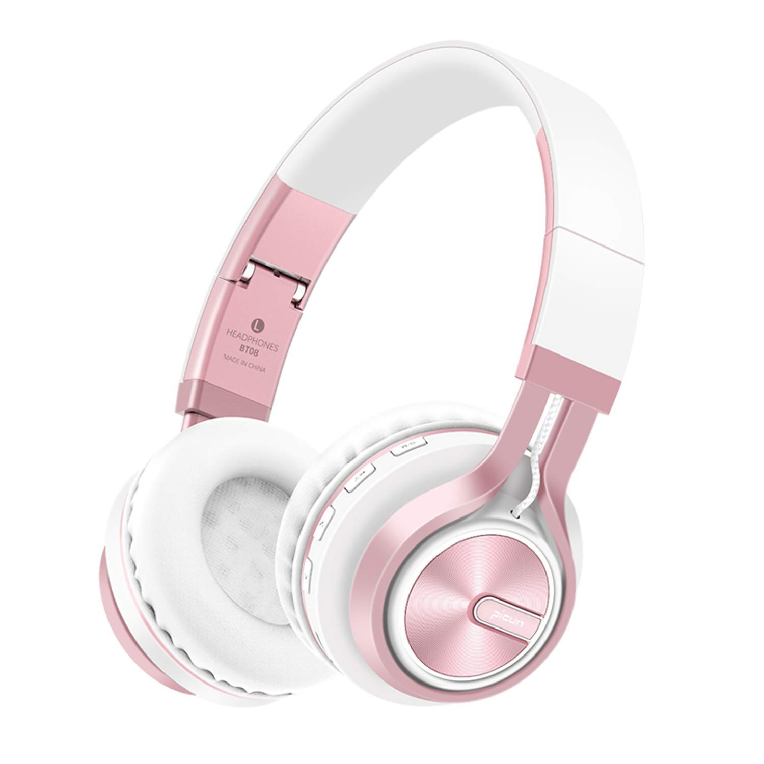 Bluetooth Headphones Over Ear, LAFEINA Wireless/Wired Noise Cancelling Headsets, Foldable Earphones with HD Microphone, Support TF Card for iPhone, PC, Phones (White/Rose Gold)