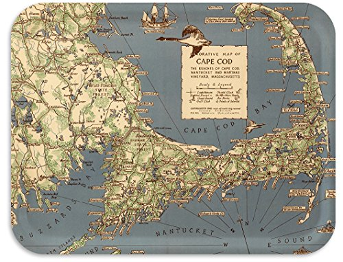 Trays4Us Cape Cod MA 1940 Vintage Map Birch Wood Veneer 16x12 inches (Large) TV/Serving Map Tray - 100+ Different Designs