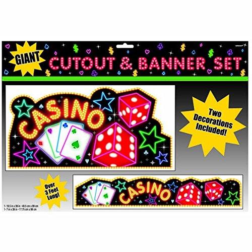 "Amscan Casino Party Cutout & Banner Decoration (2 Piece), Multi Color, 13.8 x 19.8"""