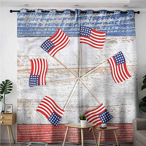 - BE.SUN Sliding Door Curtains,4th of July,USA Flags in a Pinwheel,Grommet Curtains for Bedroom,W120x96L
