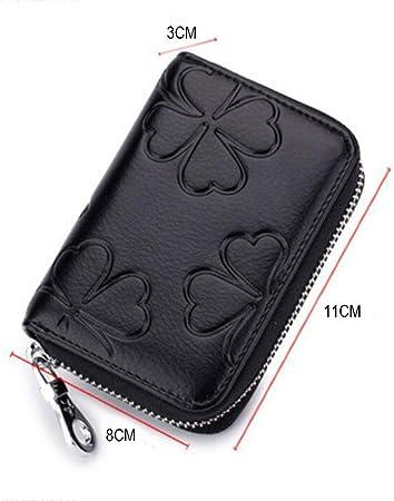Noir DcSpring Petit Porte-Monnaie en Cuir V/éritable Portefeuille Mini Zipp/é avec Porte-Cl/és pour Femme Homme