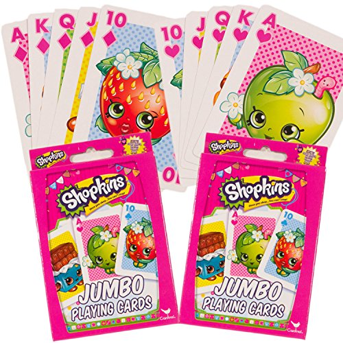 Cartes à jouer Shopkins--Ensemble de 2 platines, Shopkins Jumbo jeu de cartes pour enfants