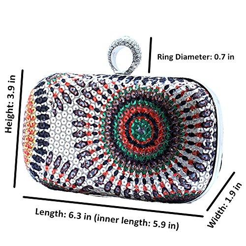 Formal Bag Albabara Purse Multicolor Eveningbag Floral Clutch Ring Sequins Evening Rhinestone Gold nwqZYUIqr