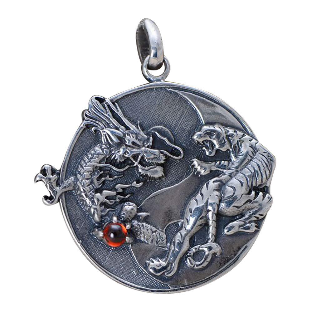 FORFOX Pendentif Dragon Tigre Yin Yang en Argent Sterling 925 Noir pour Hommes Femmes