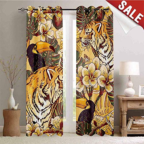 (Tiger, Blackout Draperies for Bedroom, Tropical Animals Symbol of Bengal and Toucan in Lively Colors Harmonious Nature Print, Thermal Insulating Blackout Curtain, W84 x L96 Inch Multicolor )