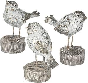 Sullivans Whitewashed Birds on Log Pedestal 5 Inch Decorative Tabletop Figurines Set of 3
