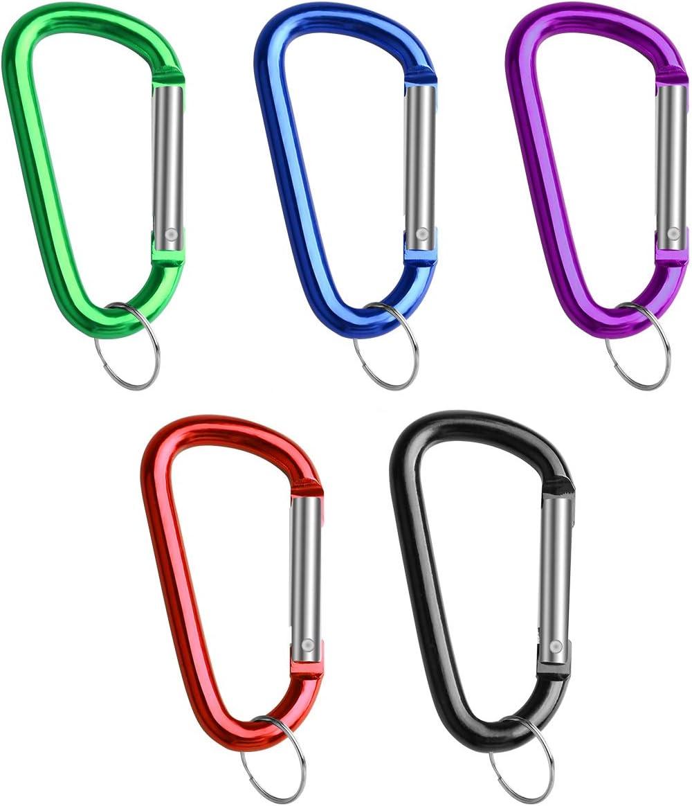 Spring Snap Hook/for Keychain Clip,/Set of 10 sprookber 3 Aluminum Carabiner D Ring Caribeener/Clips