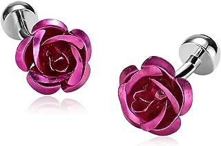 Epinki Acciaio Inossidabile Gemelli Per Uomo Rosa Fiore - Con Regalo Casella ZGF65MXI492