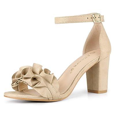 15c714db428 Allegra K Women s Ruffle Ankle Strap Chunky Heel Beige Sandals - 6 ...
