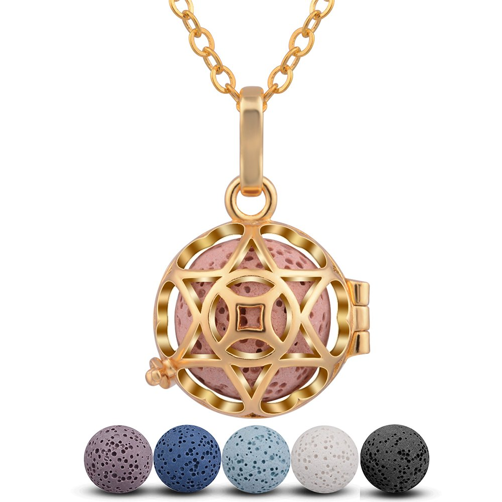 Star of David Aromatherapy Essential Oil Diffuser Locket Necklace Odor Pendant & 5 Colours Washable Lava Stone Beads with Adjustable 30'' Long Chain women men Gold Plated Fragrance Jewelry