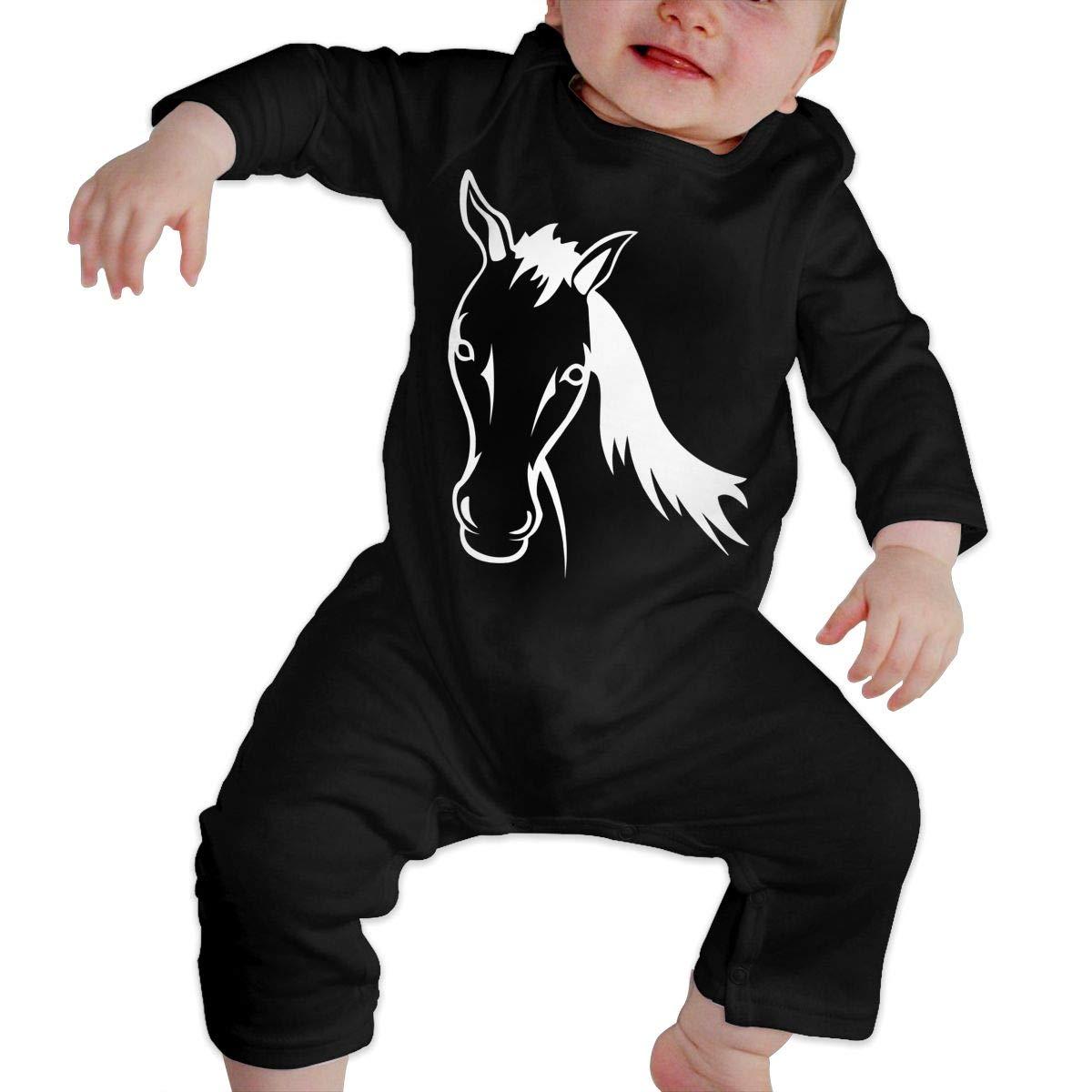 UGFGF-S3 Horse Baby Boy Girl Long Sleeve Romper Jumpsuit Kid Pajamas Onsies Black