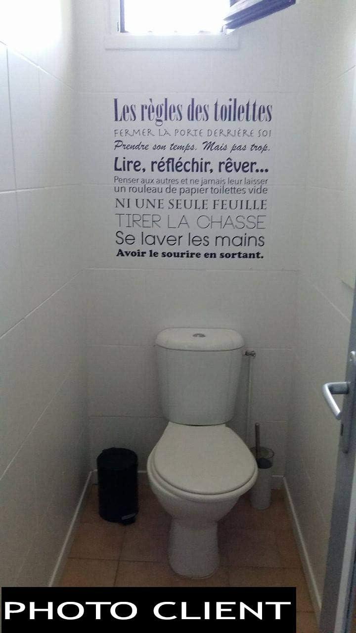 Les stickers muraux Beestick se posent tr/ès facilement un seul morceau Sticker pour WC//Toilettes Les r/ègles des toilettes autocollant /éducatif//humoristique taille 60x61 cm noir
