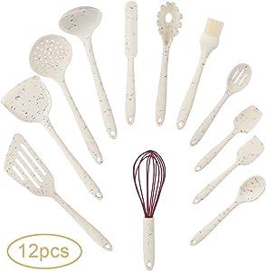 Silicone Cooking Utensil Set,12 Pcs Kitchen Cooking Utensils Set,Silicone Handles Cooking Tools Turner Spatula Spoon - Kitchen Gadgets Cookware Set - Best Kitchen Nonstick Tool Set(BPA Free Non Toxic)