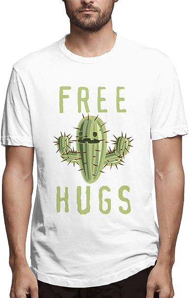 Playera Blanca Basic Hugs Free Cactus Design para Hombre: Amazon.es: Ropa y accesorios
