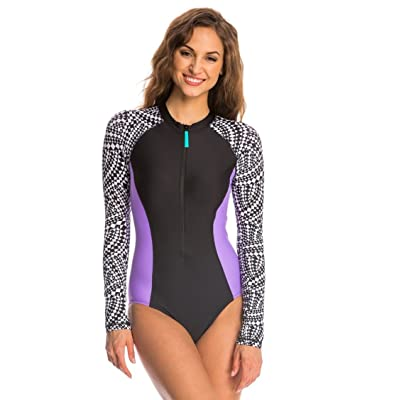 .com : Speedo Women's Printed Long Sleeve One Piece Swimsuit (Small, Black Purple) : Clothing