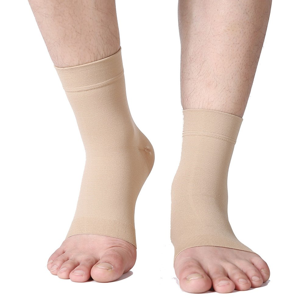 Plantar Fasciitis Socks, (1 pair) Foot Care Compression Sock for Arch Support Women Men, TOFLY Foot Compression Sleeve for Ankle Brace Support, Injury Recovery, Eases Swelling, Relieves Pain Beige L by TOFLY (Image #2)