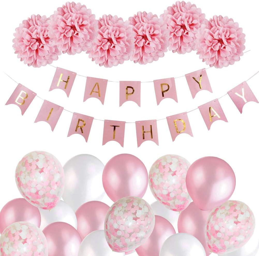 MMTX Decoración de Cumpleaños para Niña, Rosa Feliz Cumpleaños Conjunto de Pancartas de Feliz Cumpleaños con Globos Rosados y Pompones de Papel Tisú Para Niña