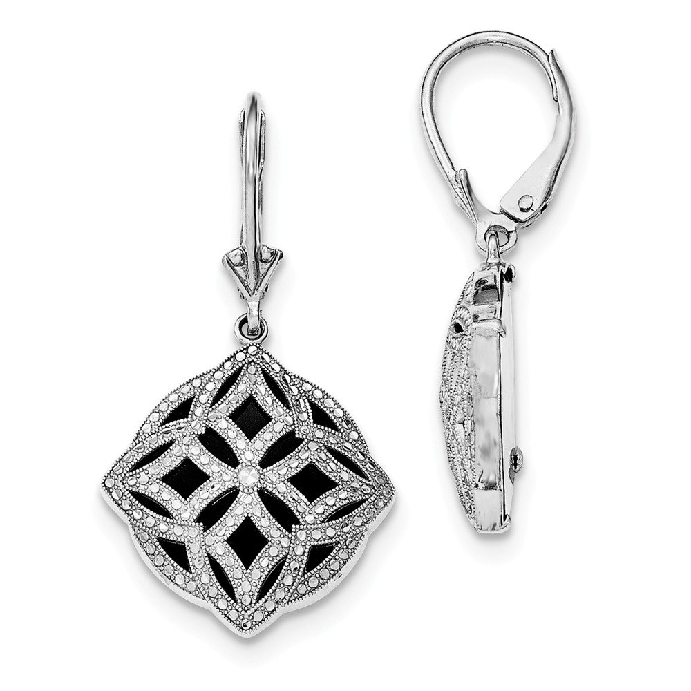 Best Designer Jewelry Sterling Silver Rhodium-plated D/C Onyx Leverback Earrings