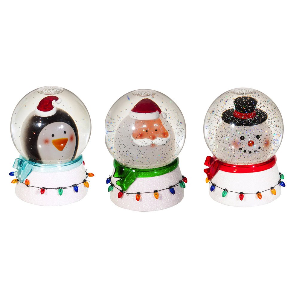 Cypress Home Penguin, Santa and Frosty Snow Globe, Set of 3