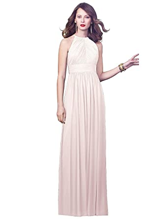 Dessy Women s Full Length Lux Chiffon Dress With Modified Halter at Amazon  Women s Clothing store  0e3fe2f91