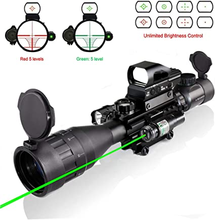 4-16X50EG Rifle Scope+Red//Green Laser+HD Holographic Dual Illuminated Dot Sight