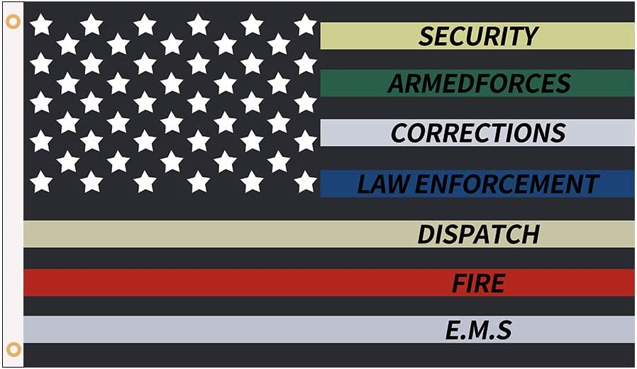 Police Fire Thin Multi Line Red Blue Green Support Banner Flag with Brass Grommets for Dorm Room Decor,Outdoor,Parties,3 x 5 Ft