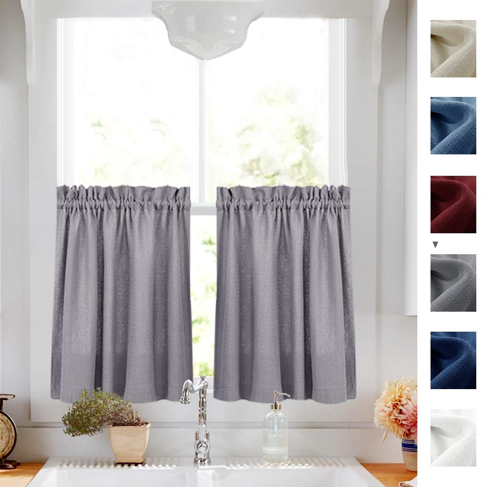 Tier Curtains Grey 24 inch Length Cafe Curtains Half Window Curtains Kitchen Curtain Set 2 Panels