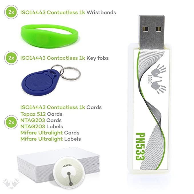 Amazon.com: RFID NFC Lector Escritor dl533 N USB Stick 16 ...