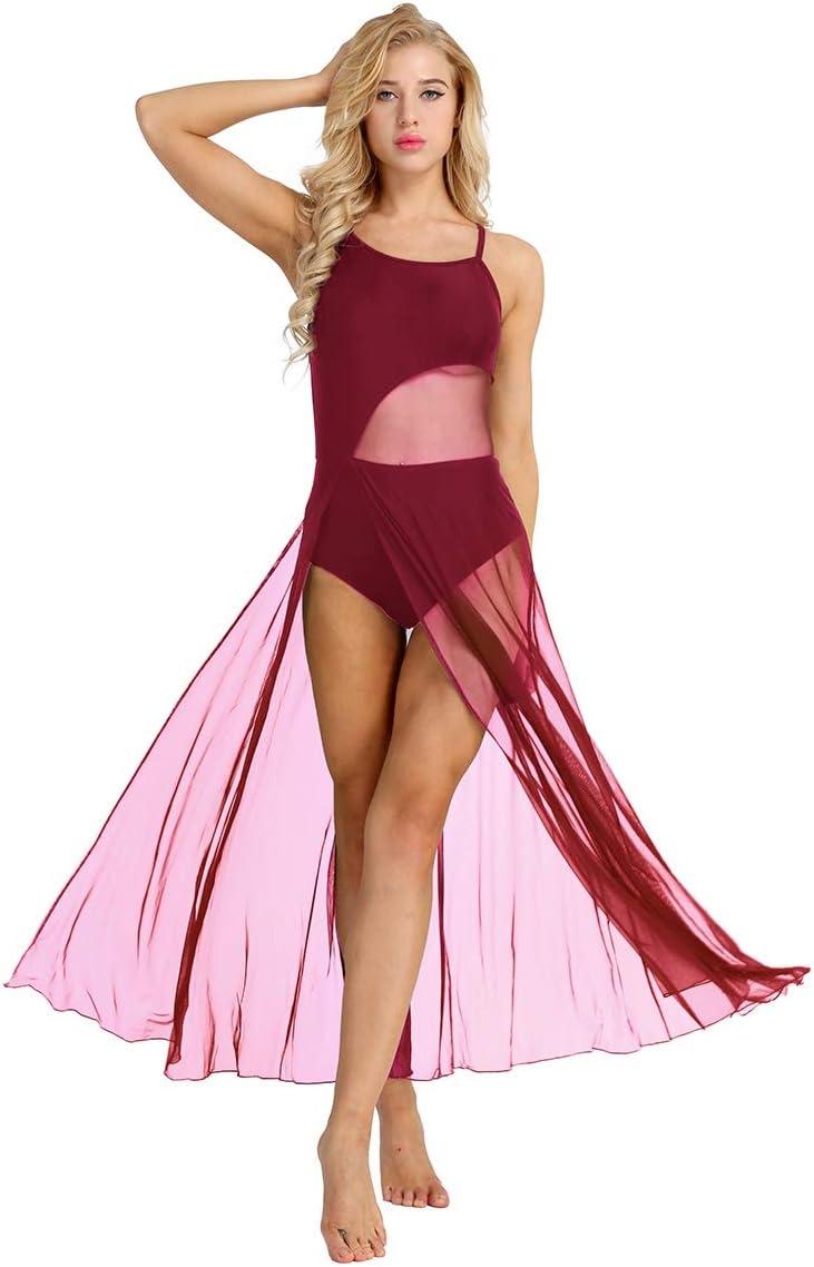 YiZYiF Robe de Danse Femme Tutu Justaucorps Ballet Latine Tango Salsa Body Patinage Gymnastique Combinaison Sport Yoga sans Manche Tulle Robe Soir/ée Carnaval S-XXL