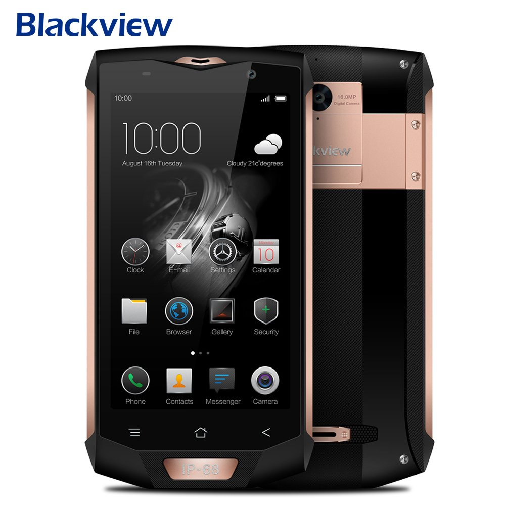 Dual SIM Smartphone Unlocked Android, Blackview BV8000 Pro Smartphone IP68 Waterproof MT6757 Octave Core 6G RAM 64G ROM 5.0'' 1920 1080 16.0MP 4G Android 7.0 Phone