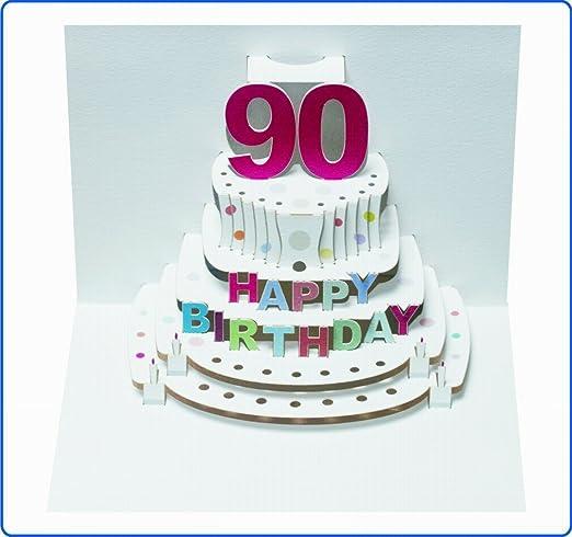 Tarjeta de felicitación de cumpleaños pop-up en 3d 90 cumpleaños tarta de cupones 16 x 11 cm