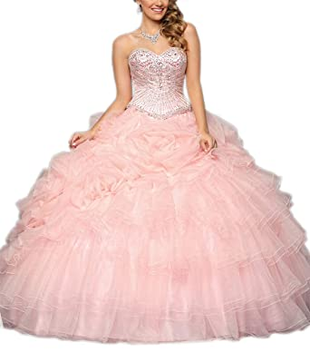 660364a60d0 M RAC Women s Crystal Sweetheart Quinceanera Dresses Beaded Prom Ball Gowns  Sweet 16 Dresses 2 Pink