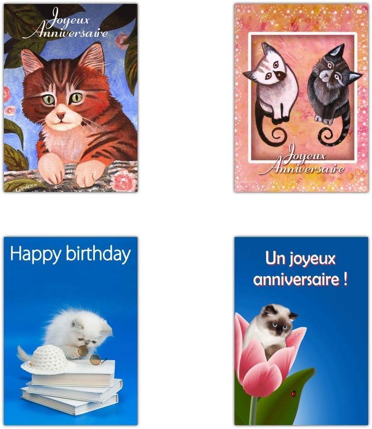 Mignonne Carte Anniversaire Avec Des Chats 3 Formats Dispos Carte Anniversaire Avec Des Chats Lot De 16 Cartes Differentes Format Carte Postale Cartes Postales Cartes Et Papier Cartonne