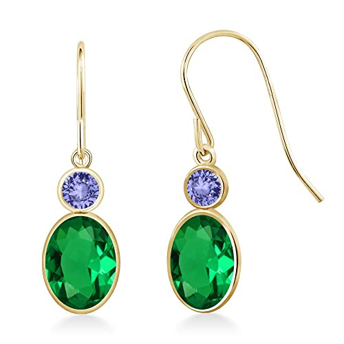 Gem Stone King 1.44 Ct Oval Green Nano Emerald Blue Tanzanite 14K Yellow Gold Earrings