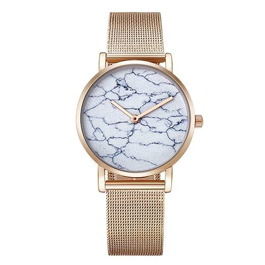 Cagarny mujeres reloj oro rosa pulsera de malla de acero relojes mármol patrón Dial Moda cuarzo Relojes de pulsera: Amazon.es: Relojes