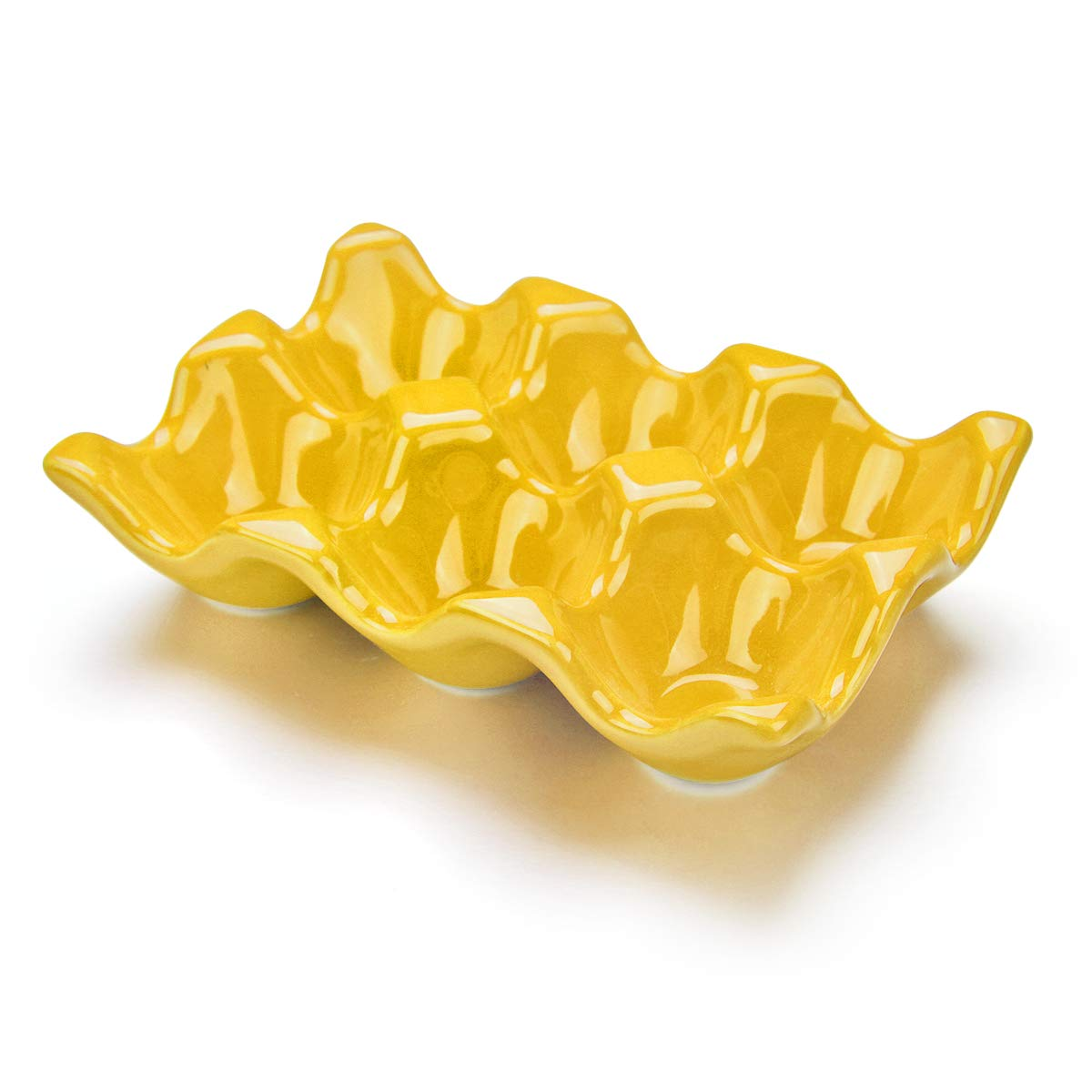 URWOOW Ceramic 6 Cup Egg Holder Half Dozen White Porcelain Tray Carton Crate Storage Keeper Storer (Yellow)
