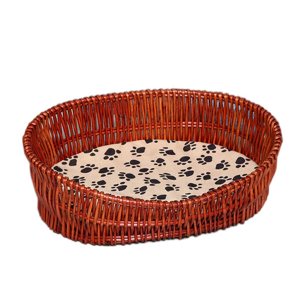 A 4 A 4 Rattan Kennel Summer Cool Breathable Pet Nest Dog House Cat Litter Teddy Bear Dog Bed Four Seasons Universal Removable Washable (color   A, Size   4)