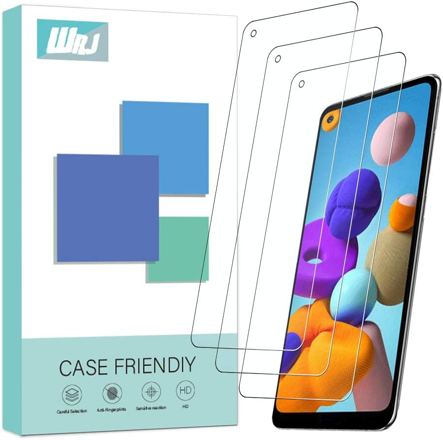 [3-Pack] WRJ for Samsung Galaxy A21 Screen Protector,HD Anti-Scratch Anti-Fingerprint No-Bubble 9H Hardness Tempered Glass