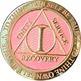 1 Year AA Medallion Reflex Pink Gold Plated Sobriety Chip
