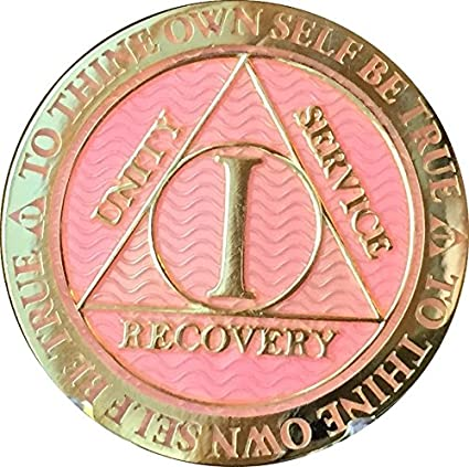 Pink /& Silver Plated 3 Year AA Chip Alcoholics Anonymous Medallion Coin