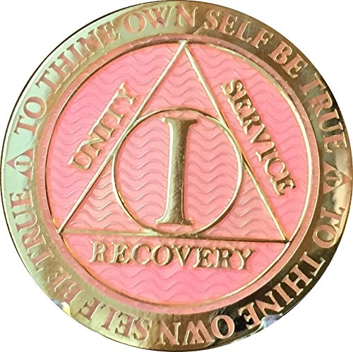 RecoveryChip 1 Year AA Medallion Reflex Pink Gold Plated Alcoholics Anonymous Chip