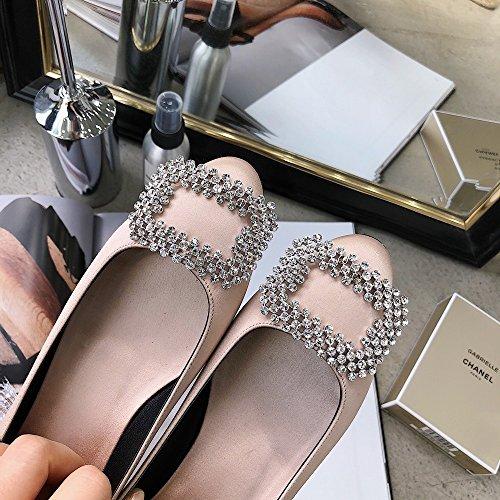 Hebilla Ballet de de Taladro do High Poco Zapatos Planos de Zapatillas Primavera 37 y Verano heels de Las con Redondas Trabajan AXqwqtHIY