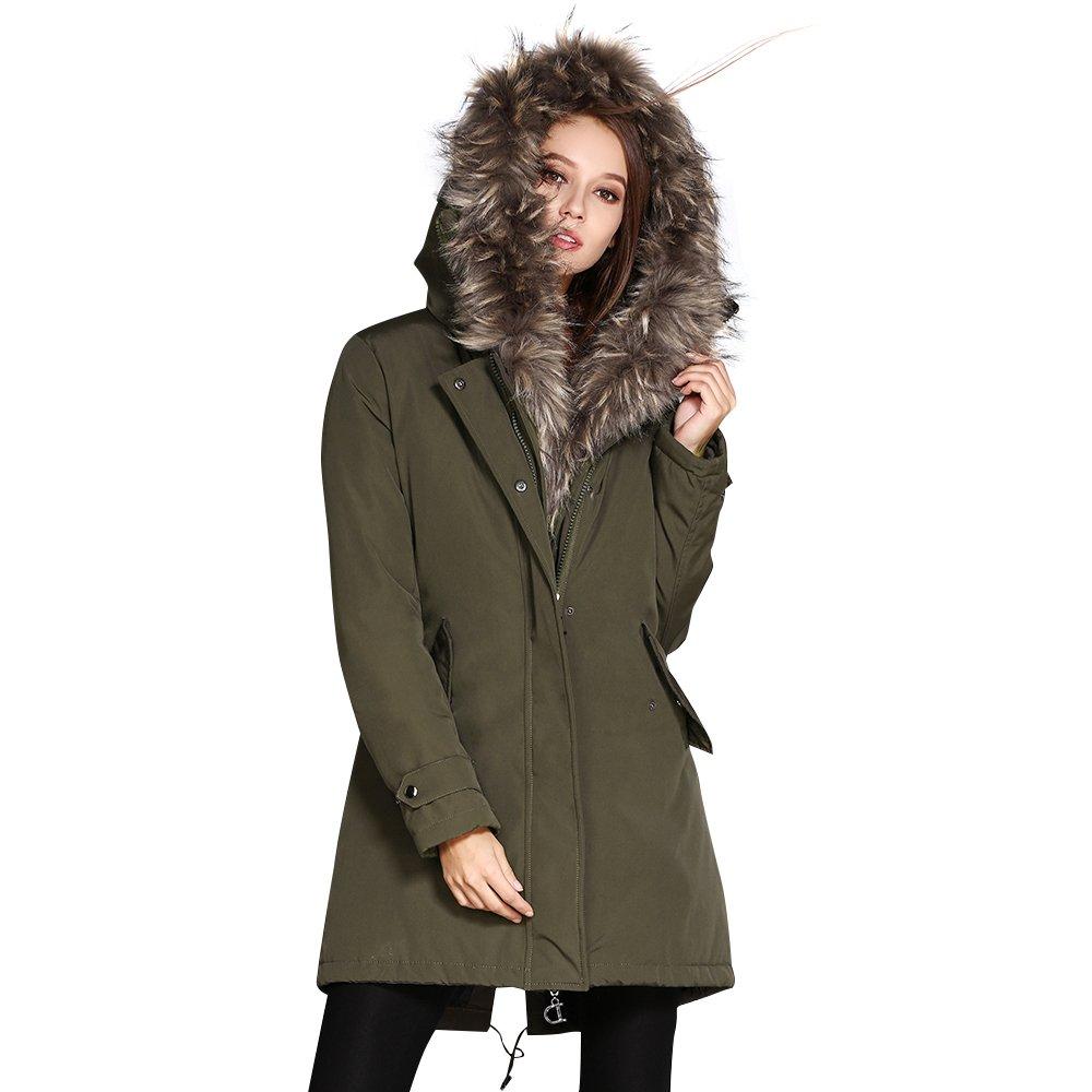 Army Green COUTUDI Women's Winter Faux Fur Hooded Plus Size Parka Jacket Coat