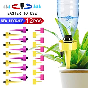 getbear Self Watering Spikes, Adjustable Plant Watering, Automatic Drip Irrigation Plant Waterer with Slow Release Control Valve Switch, Self Irrigation Watering Drip Devices Suitable for All Bottle