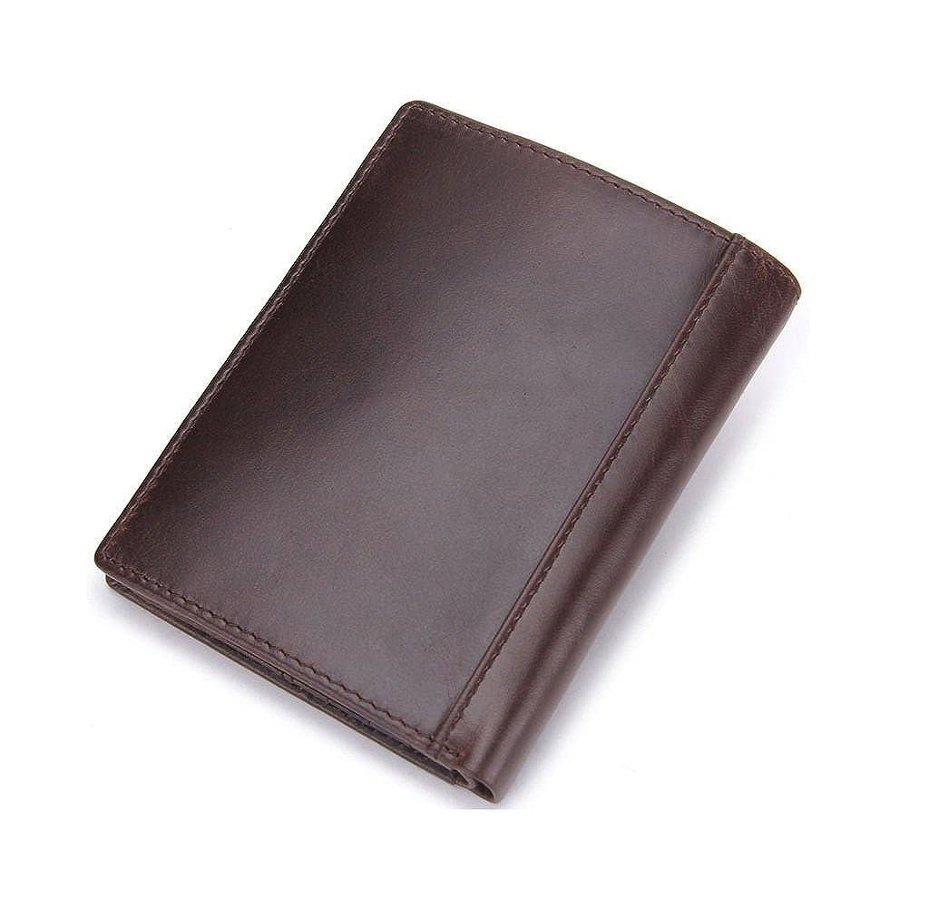 HYSENM Men Short Genuine Leather Wallet Bifold with Zipper Purse