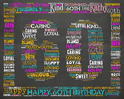 60th Birthday Gifts Gift Ideas Sixty Chalkboard Decoration Banner Sign Keepsake Personalized For Her Him