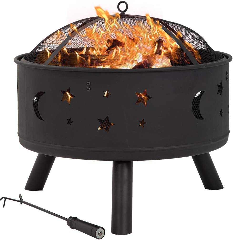 24 Fire Pit Portable Outdoor Firepit Wood Fireplace Heater Patio Deck Yard
