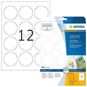 Herma 5067 - Pack de 300 etiquetas, diámetro 60 mm, color blanco ...